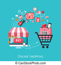 Flat design for online shopping concept.