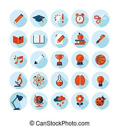 Flat Design Icons für Bildung.