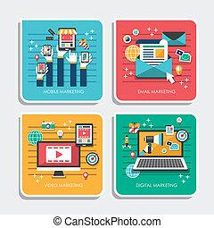 Flat Design Icons für Marketingkonzepte.