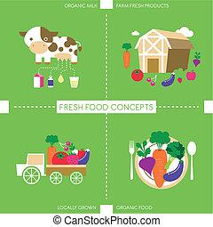 Flat Design Icons für organisches Essen und Trinken.