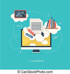 Flat Design Illustration Konzept für Online-Ausbildung.