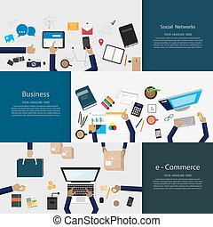 Flat Design Illustrationskonzepte für Unternehmen.