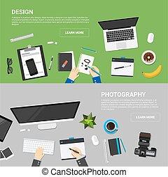 Flat Design Konzepte für kreative Prozesse.