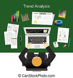 Flat Design Konzepte für Trendanalyse, Marketinganalyse, Statistik, Businessplan.