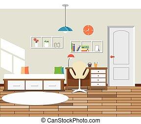 Flat design modern interior bedroom