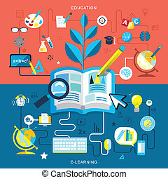 Flat design of education and e-learning.