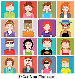 Flat design people icon.