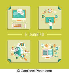 Flat Design Vektor Icons für Online-Bildung.