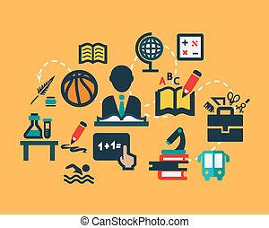 Flat education icons set.