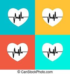 Flat heart Beat Icon.