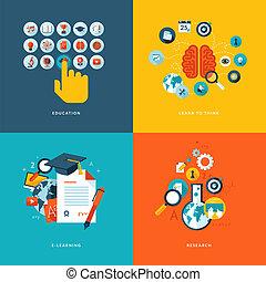 Flat Icons für Online-Ausbildung