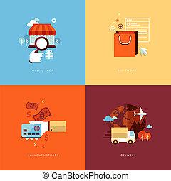 Flat Icons für Online-Shopping