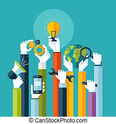Flat Konzept für Online-Services