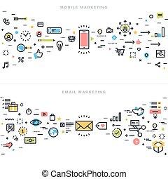 Flat Line Design Marketing Konzepte.