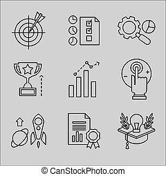 Flat Line Icons für die Webentwicklung.