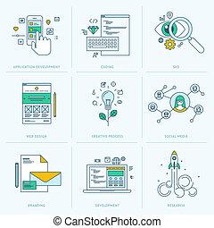 Flat Line Icons für die Webentwicklung