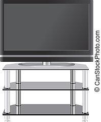 Flat Panel TV auf modernem TV Stand.