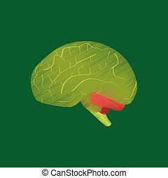 Flat Shading Style Icon Gehirn.
