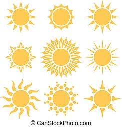 Flat yellow sun cartoon shapes isoliert auf weißem Hintergrund.