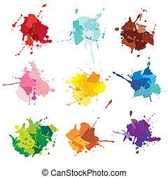 flecke, farbe, blots., tinte