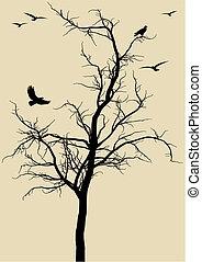 Fliegen mit Vögeln, Vektor.