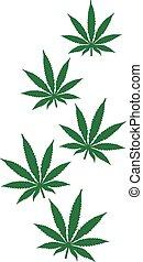 Fliegende Hanfblätter Marihuana.