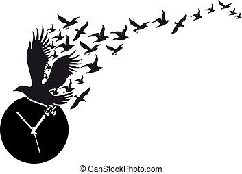 Fliegende Vögel mit Uhr, Vektor.
