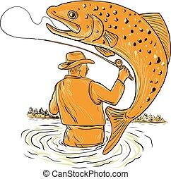 Fliegender Fischer, der Forellen zieht.