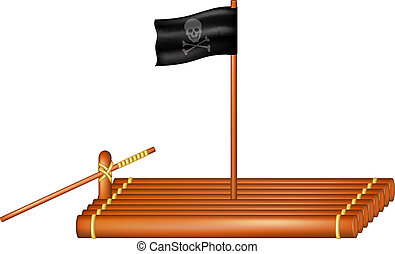 floß, fahne, hölzern, pirat