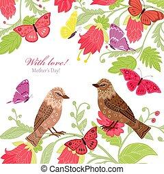 Floral Einladungskarte mit einigen Vögeln für Ihr Design.