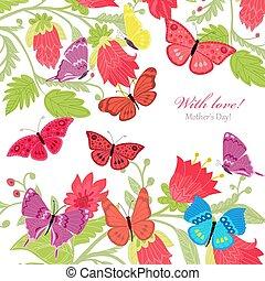 Floral Einladungskarte mit fliegenden Schmetterlingen für Ihr Design.