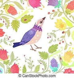 Floral Einladungskarte mit schönem Vogel für Ihr Design.