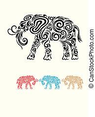 floral., elefant