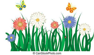Floral Hintergrund mit Gras, Blumen und Schmetterlingen. Vektor Illustration