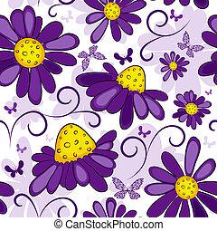 Floral, nahtlos weiß-violett Muster.