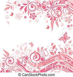 Floral rosa Karte.