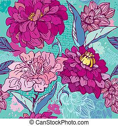 Floral Seamless Pattern mit hand gezeichneten Blumen - Chrysanthemum und Peony.