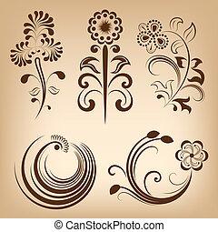 Floral-Vektor-Designelemente.