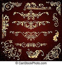 Floral Vektor-Set von goldenen ornate Seite Dekorelemente wie Banner, Rahmen, Trenner, Ornamenten und Muster im dunklen Hintergrund. Goldene Kalligrafen