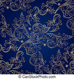 Floraler Jahrgangsmuster auf blauem Hintergrund