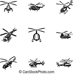 Flughafen-Hubschrauber-Icon Set, einfache Stil