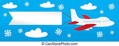 Flugzeug mit Bannern