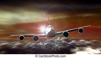 Flugzeuge fliegen bei Sonnenuntergang mit Bewegungsunschärfe.