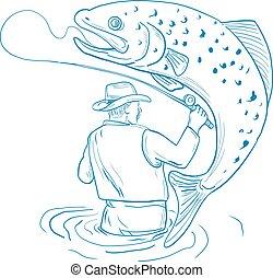 Fly Fisherman Forellenfischerei Zeichnung.