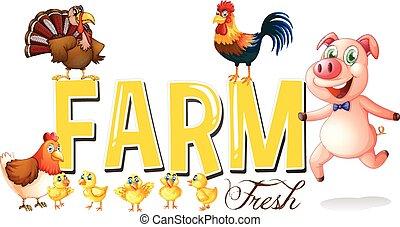 Font Design für Farm mit Schweinen und Hühnern.