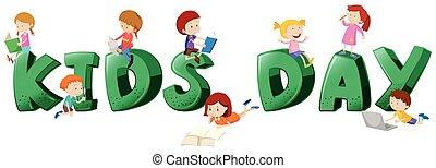 Font Design für Kindertage mit vielen Kindern.