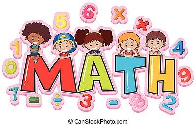 Font Design für Word Mathe mit glücklichen Kindern.
