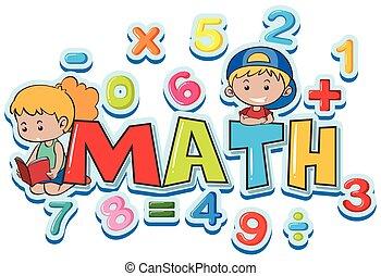 Font Design für Word Mathe mit vielen Zahlen und Kindern.