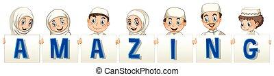 Font Design für Wort erstaunlich mit moslemischen Kindern.