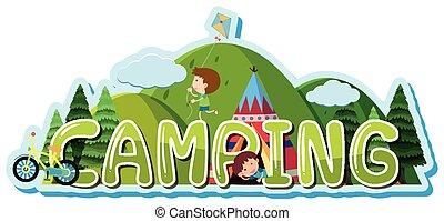 Font Design für Wortcamping mit Kindern im Zelt.